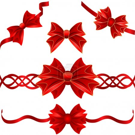 Set of red gift bows with ribbons