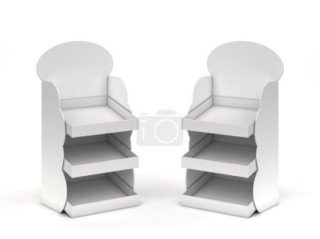 Foto de Dos mostradores de promoción vacíos blancos con estantes - Imagen libre de derechos