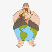 Fat man eats hamburgers