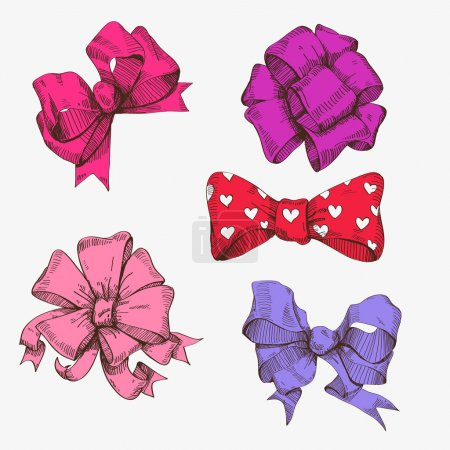 Illustration for Set of hand drawn bows, vector illustration - Royalty Free Image