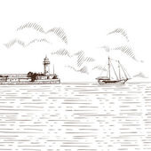 Hand drawn sea bay Vector illustration