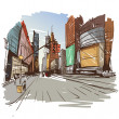 Hand drawn cityscape, vector illustration...