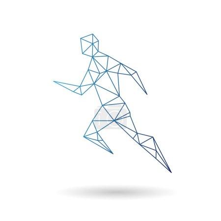 Photo pour Homme de sport courir abstrait isolé sur un fond blanc - image libre de droit