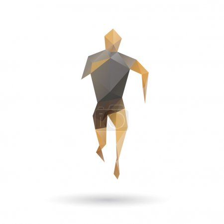Sports man running abstract isolated on a white backgrounds