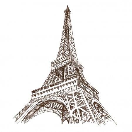 Illustration for Hand drawn Eiffel Tower. Paris, vector illustration - Royalty Free Image