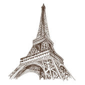 Hand drawn Eiffel Tower Paris vector illustration