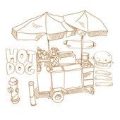 Street food Hot dog stand hand drawn vector illustration