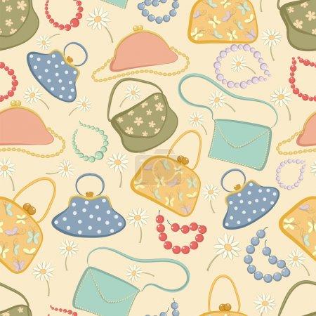 Illustration pour Modèle sans couture de sacs, de perles et de fleurs. Illustration vectorielle . - image libre de droit