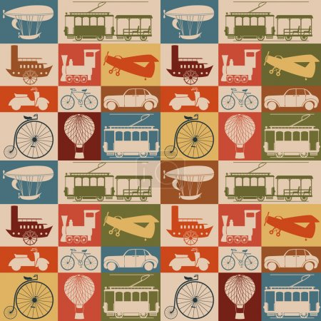 Illustration for Seamless pattern with retro transport. - Royalty Free Image