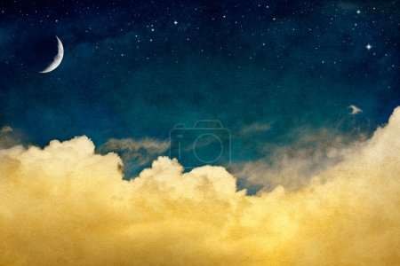 Photo for A fantasy cloudscape with stars and a crescent moon overlaid with a vintage, textured watercolor paper background. - Royalty Free Image