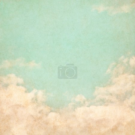 Photo for Sky, fog, and clouds on a textured vintage paper background with grunge stains. - Royalty Free Image