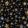 A star field of gold and silver stars with a clipp...