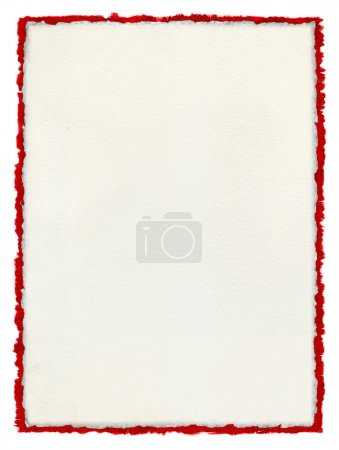 Deckled Paper with tattered red border.