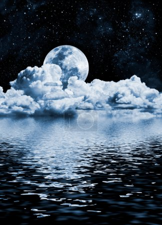 Photo for The moon setting over clouds and water with reflections. - Royalty Free Image