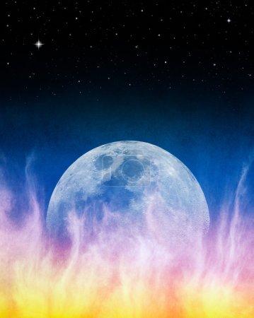 Firey Blue Moonrise