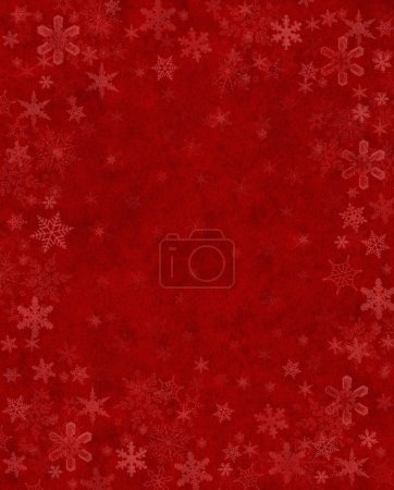 Photo for Subtly rendered snowflakes on a textured red background. - Royalty Free Image