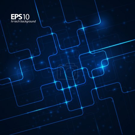 Illustration for Abstract hi-tech dark blue background. Vector illustration - Royalty Free Image