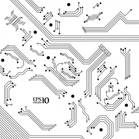 Illustration for Digital background from electric circuit. Vector illustration. - Royalty Free Image
