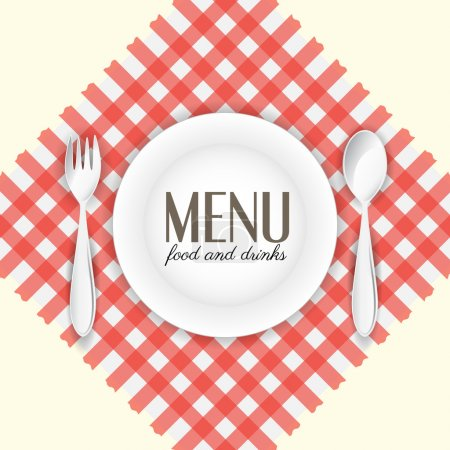 Illustration pour Assiette avec cuillère et fourchette sur serviette rouge et blanche - image libre de droit