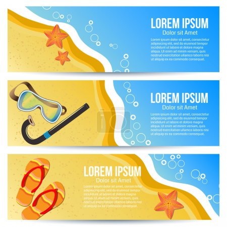 Photo for Three summer banners. Vector illustration, summer beach with starfish, slippers and snorkelling. - Royalty Free Image