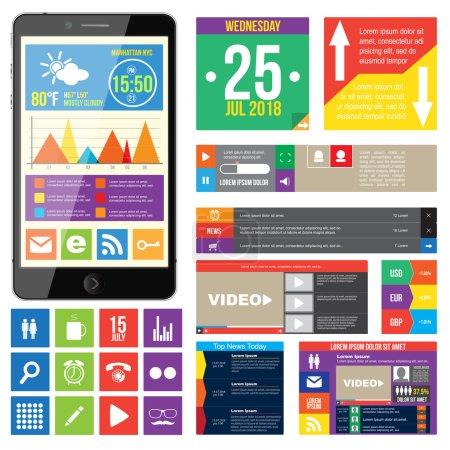 Illustration pour Plat de conception de sites web, les éléments, les boutons, les icônes. templates pour site Web. - image libre de droit