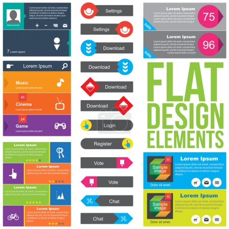 Illustration for Flat Web Design elements. Templates for website. - Royalty Free Image