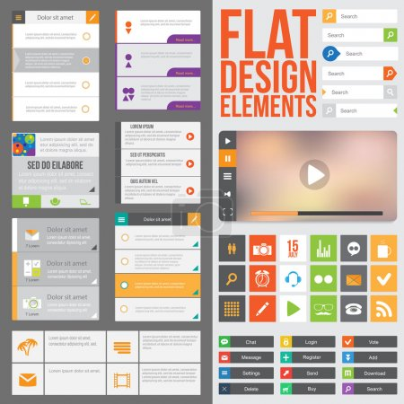 Illustration for Flat Web Design elements, buttons, icons and video player. Templates for website or applications. - Royalty Free Image
