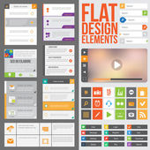 Flat Web Design elements buttons icons and video player Templates for website or applications