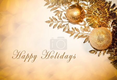 Photo for Decorative card with Happy Holidays text, balls and glitter - Royalty Free Image