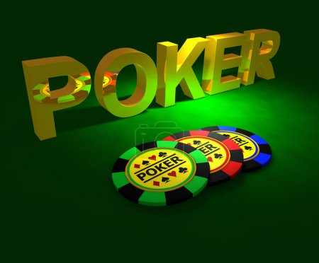 Golden word POKER and chips