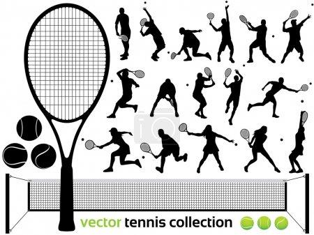 Illustration pour Joueurs de tennis Silhouettes - collection de tennis vectoriel. (Haute Détail !) - image libre de droit