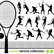 Tennis Players Silhouettes - Vector tennis collect...