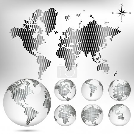 Illustration for Vector dotted Map and Globe of the World. EPS10 - Royalty Free Image