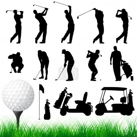 Vector Golfer Silhouettes