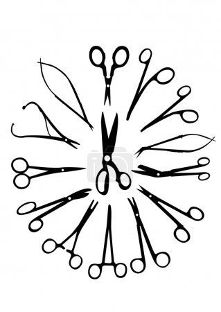 Silhouette of the medical scissors
