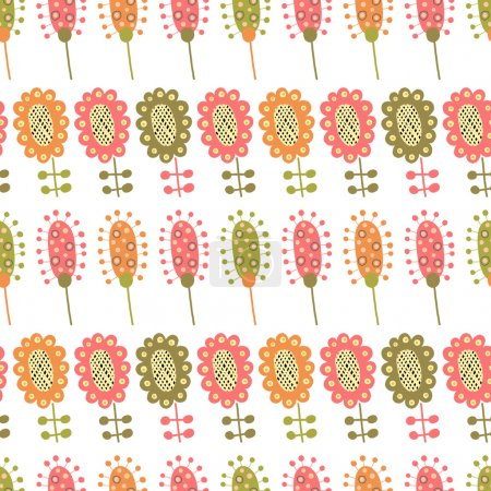 Seamless pattern with multiple colored flowers