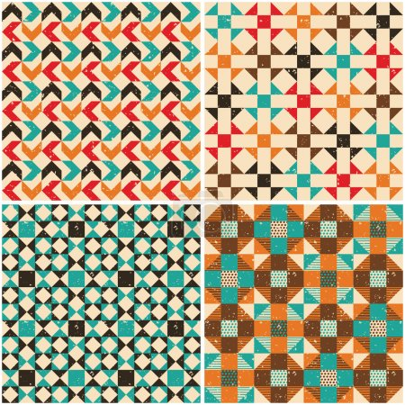 Set retro seamless geometric patterns