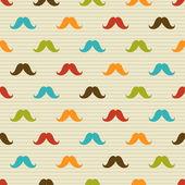 Bezešvé vzor barevných knír na proužkovaném pozadí