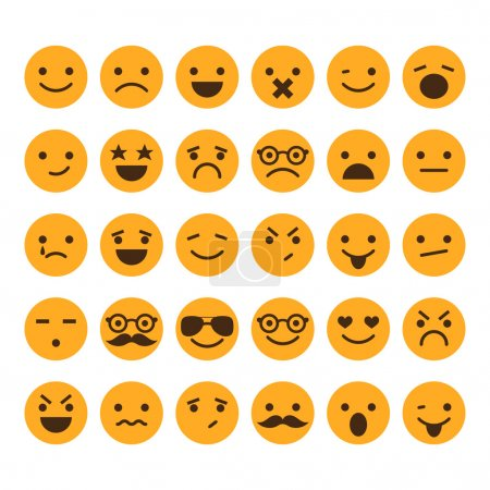 Illustration for Set of different smileys vector - Royalty Free Image
