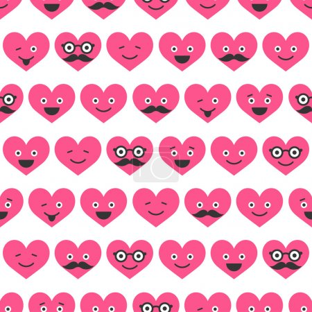 Illustration for Seamless pattern with Valentine hearts smiles - Royalty Free Image