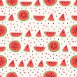 Seamless pattern of color hand drawn watermelons for textiles, interior design, for book design, website background