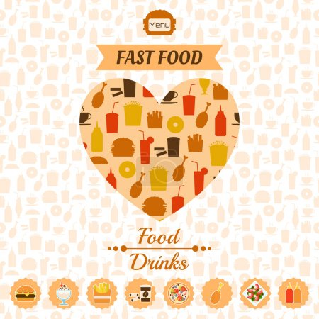 Set of fast food icons, background, labels