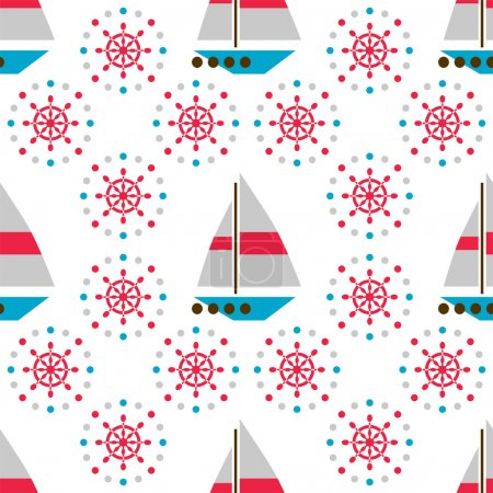 Seamless sea pattern with boats and hand wheels
