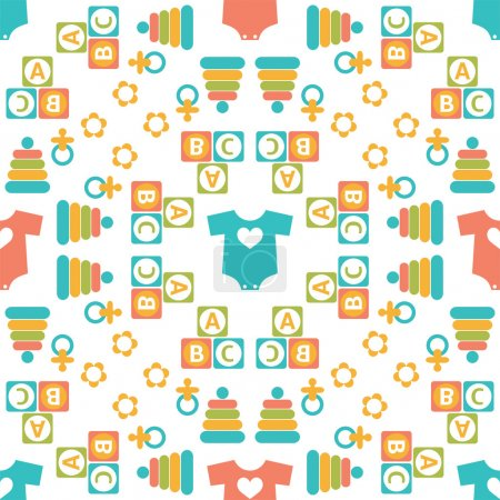Seamless pattern of baby icons