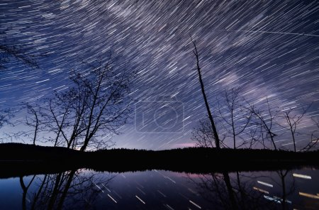 Many Star Trails in Dark Blue Night Sky