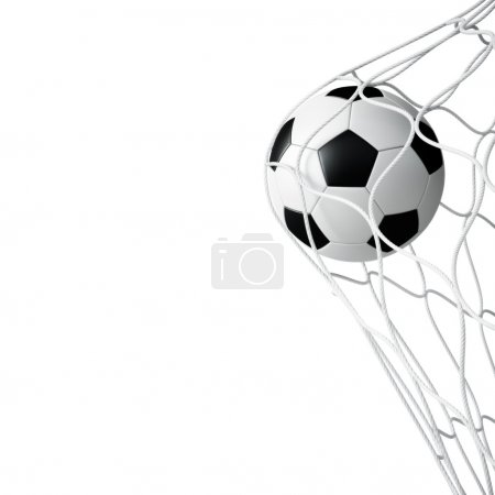 Soccer ball in net isolated