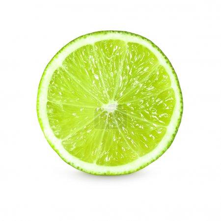 Photo pour Photo de tranche de citron vert frais sur fond blanc - image libre de droit