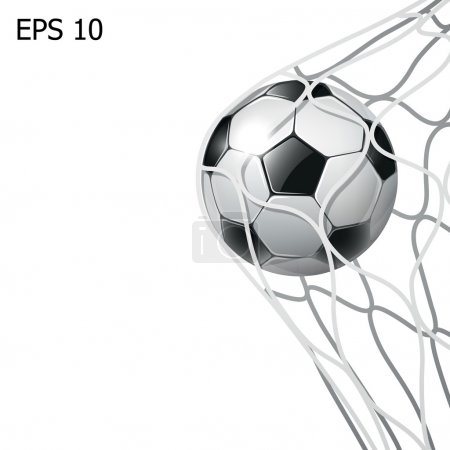 isolated soccer ball in the goal net