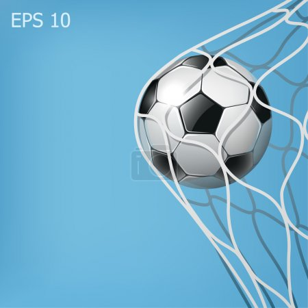 Soccer ball in the goal net on the blue background