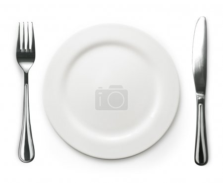 Photo for Photo of the fork and knife with white plate on white background - Royalty Free Image